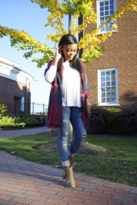 Blanket Scarf + Ripped Jeans