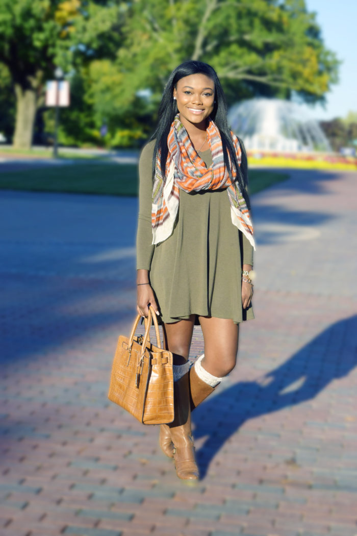 Olive Green Dress and Riding Boots