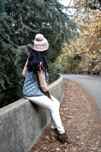 Grey Vest and Pink Beanie