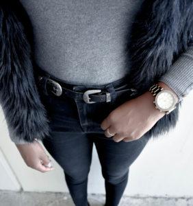 Knee-High Boots + Black Faux Fur