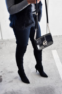 Knee-High Boots + Black Faux Fur