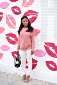 Pink Off-The-Shoulder Sweater for Valentine's Day