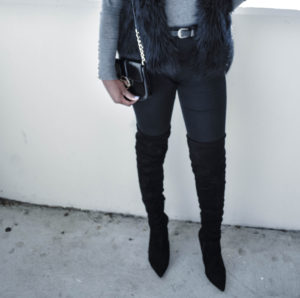 Over the Knee Boots + Black Faux Fur