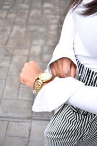 Black and White Striped Wide Leg Pants - Chanfetti