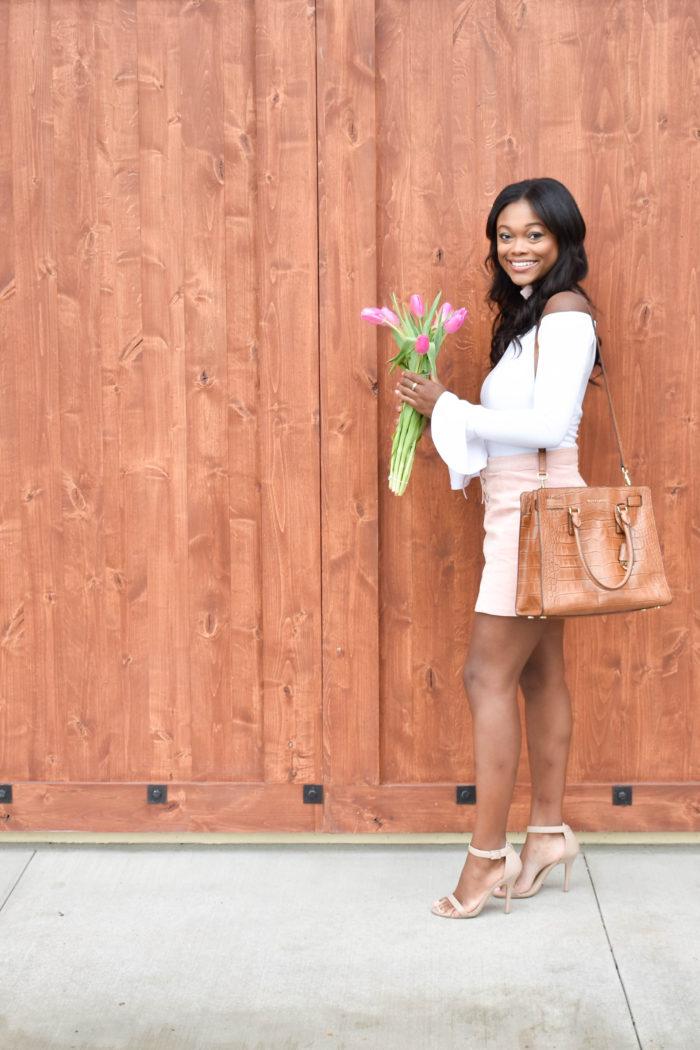 Pink Corduroy Skirt and Pink Tulips - Chanfetti