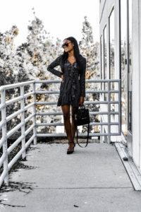 Black Dot Ruffle Wrap Dress