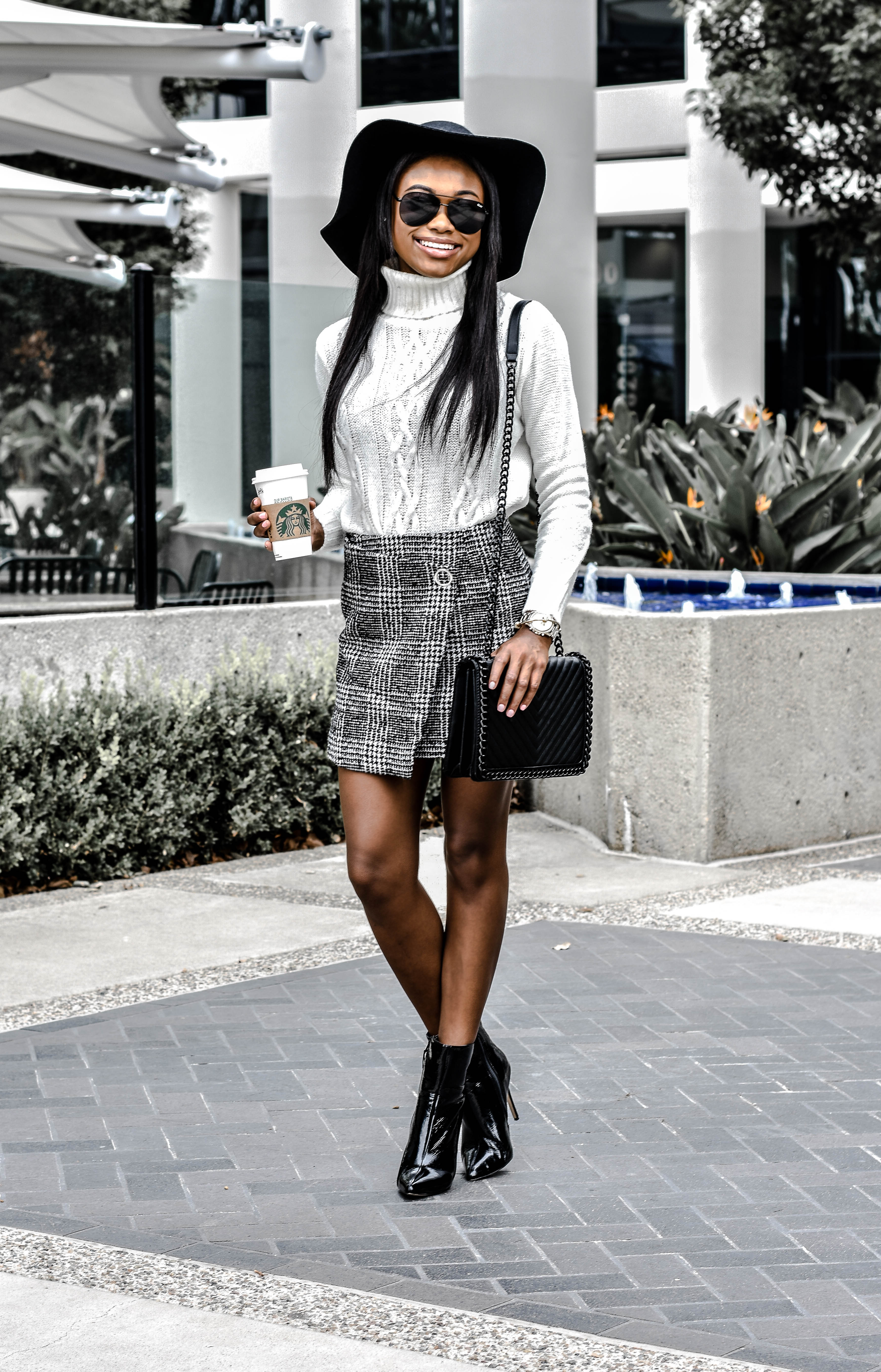 Plaid Skirt and White Knit Sweater for Winter