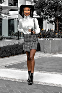 Plaid Skirt and White Sweater for Winter