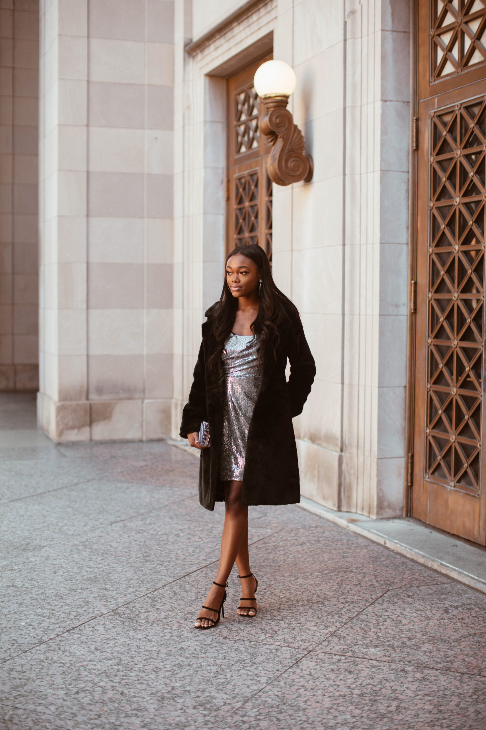 Holiday Sequins and Faux Fur with Express - Brenna Anastasia Blog