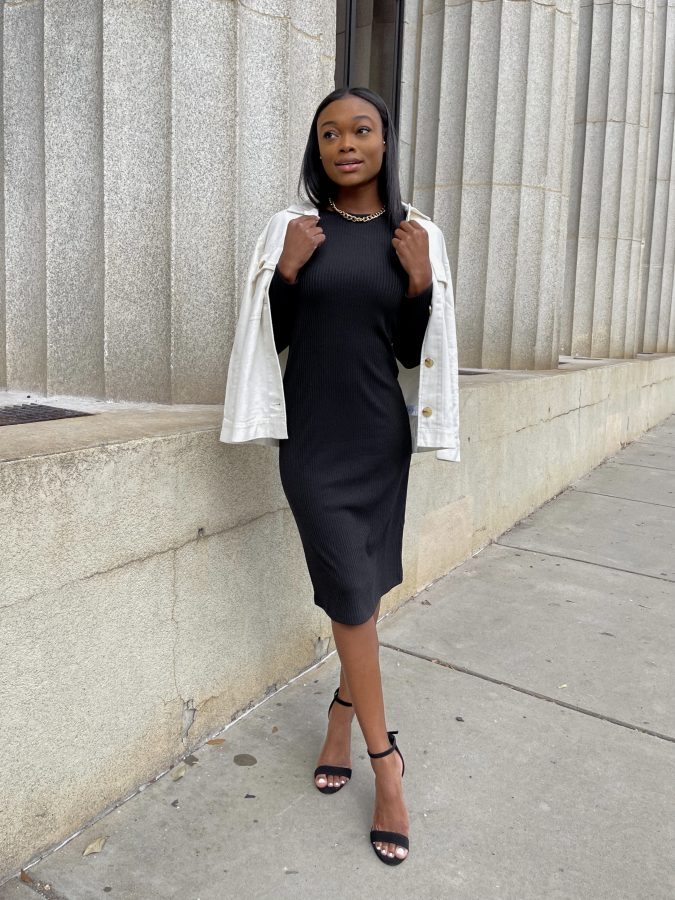 Long Sleeve Ribbed Dress and Surplus Shirt Jacket - Brenna Anastasia Blog