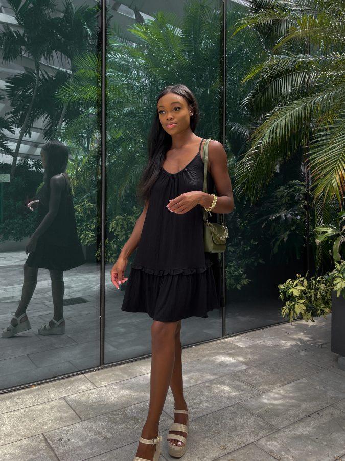 Classic Black Sundress in Miami - Brenna Anastasia Blog